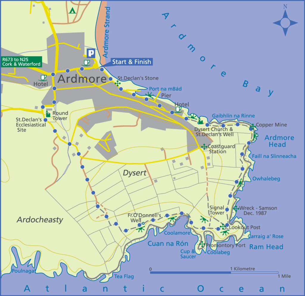 A map of Ardmore Head Loop walk in Waterford made by EastWest Mapping.