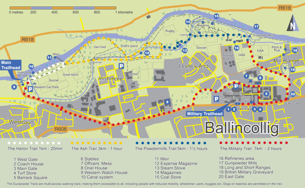 A map of Ballincollig Gunpowder Trails made by EastWest Mapping.