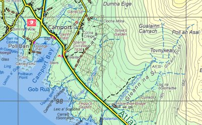 A sample covering Camport from the Achill Island map published by EastWest Mapping.