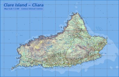 A map of Clare Island created and published by EastWest Mapping.