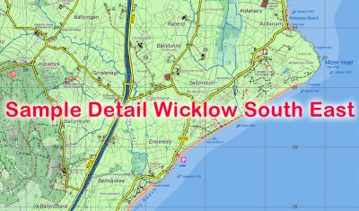 Sample detail from the 25 Series Wicklow South East 1:25,000 Scale Map published by EastWest Mapping.