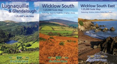 The Set of Three South Wicklow Maps published by EastWest Mapping including Lugnaquilla & Glendalough, Wicklow South and Wicklow South East.