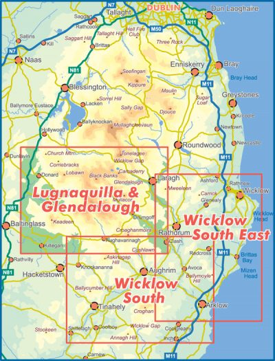 A selection showing the map coverage of the 25 series Set of Three South Wicklow published by EastWest Mapping.