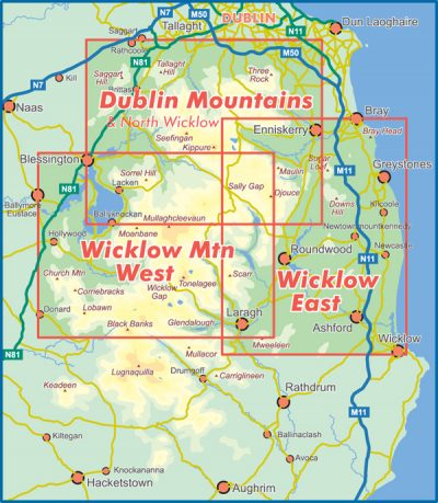 A selection showing the map coverage of the Set of Three 1:30,000 scale North Wicklow Maps published by EastWest Mapping.
