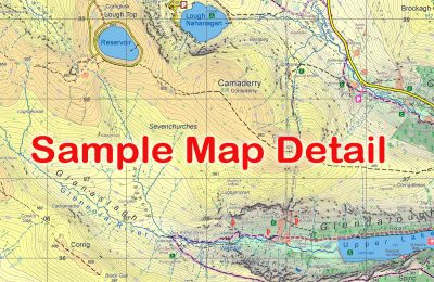 Sample map detail from the Lugnaquilla & Glendalough Map published by EastWest Mapping.