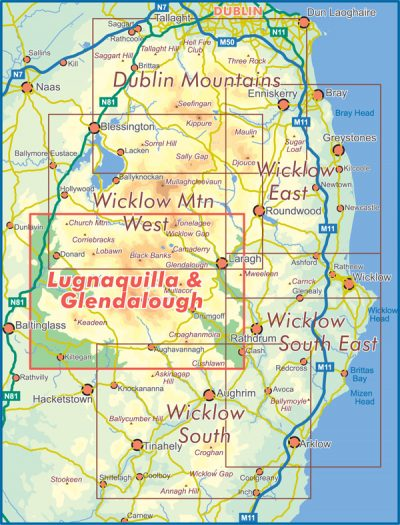 A selection that shows the map coverage of the 25 series Lugnaquilla & Glendalough Map.