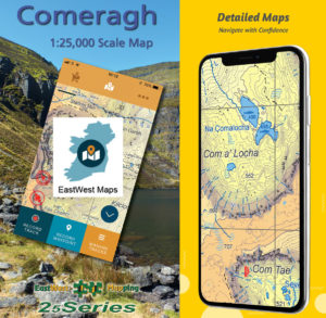 The 25 series Comeragh map on the EastWest Maps app.