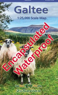 A encapsulated waterproof map of the Galtee mountain range published by EastWest Mapping.