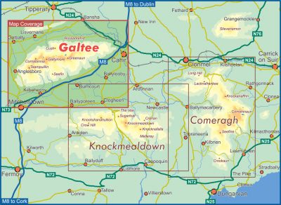 A map of the south east of Ireland with a red box marking the location of the Galtee mountain range.