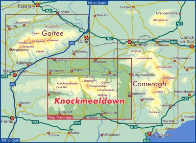 A map of the south east of Ireland with a red box marking the location of Knockmealdown.