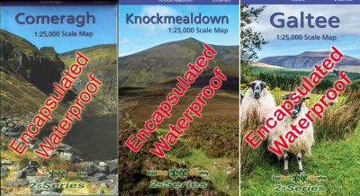 A set of three encapsulated waterproof South East maps published by EastWest Mapping including the Comeragh, Knockmealdown and Galtee Mountains.