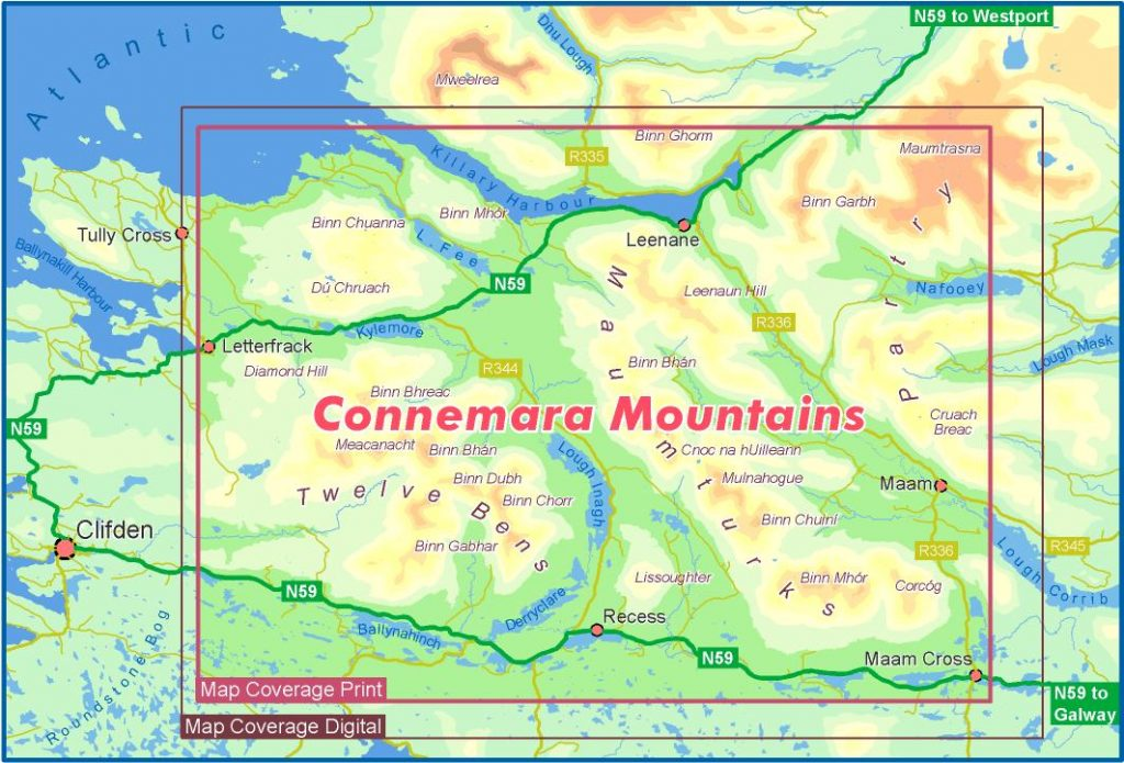 The EastWest Mapping Connemara Mountains map coverage