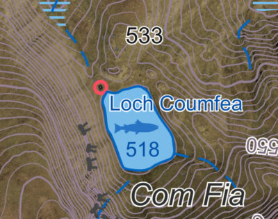 A detail of an EastWest Mapping map of Loch Coumfea in the Comeragh Mountains