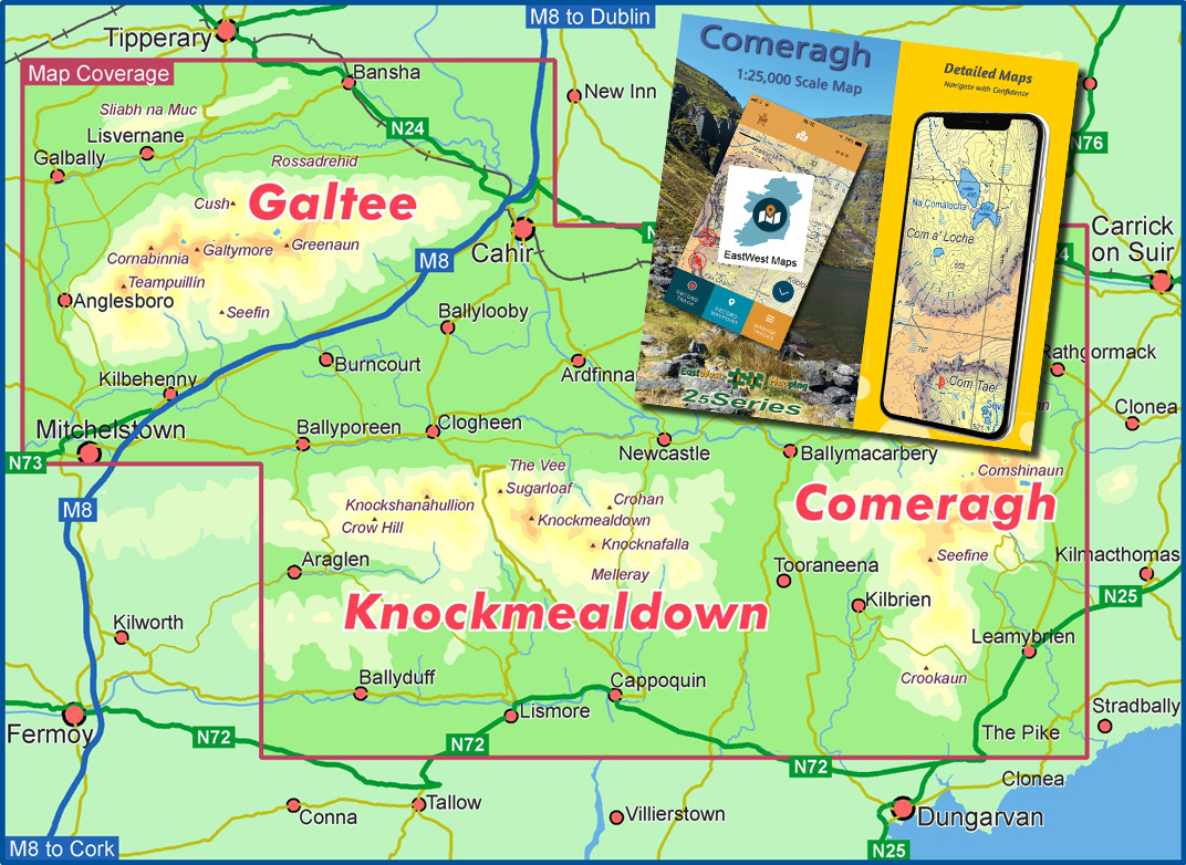 Comeragh Galtee Phone Map