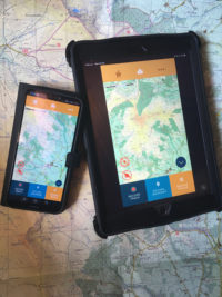 The Galtee Comeragh map by the EastWest Maps app for iOS on a IPAD and Android on a Huawei phone