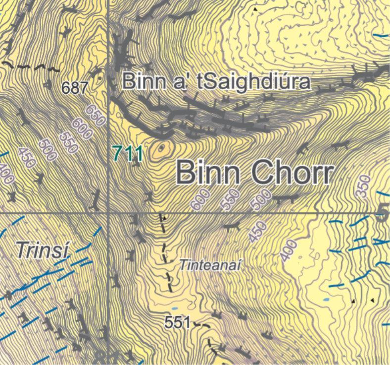 Map of the Twelve Ben Mountains in Connemara