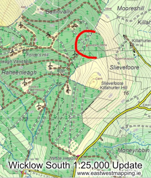 A map of Raheenleagh in South Wicklow